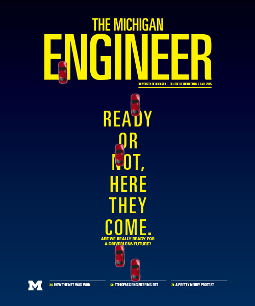 Fall 2015 cover of The Michigan Engineer magazine.