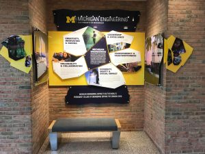 The Vision, Mission and Values display in administration building